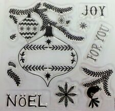 Papermania Christmas Clear Rubber Stamp Set Baubles Snowflake Noel Joy Dove Bell