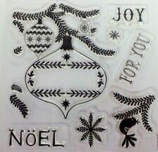 Papermania Navidad conjunto de sello de goma transparente Baubles Copo de Nieve Noel Alegría Paloma Bell