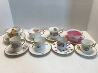 Eight Floral Designed and Gold Rimmed Tea cups (Set of 8 tea cups + plates)