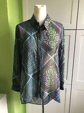 Womens Multi Coloured sheer blouse open back shirt size 14 Matalan