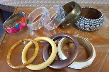 Lot 9 bracelets rigides fantaisie jonc en bois, métal doré, argenté RefV484