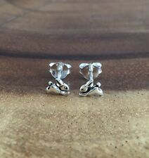 925 Solid Sterling Silver Small Tiny Rabbit Bunny Hare Ear Studs Earrings