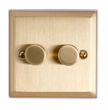 Double Dimmer Satin Brass Metal Finish Rotary Switch & Stepped Edge Litecraft