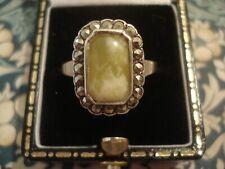 Beautiful Antique Art Deco: Irish Connemara Stone & Marcasites Set Silver Ring
