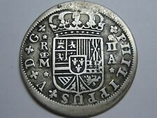 1723 MADRID 2 REAL PHILIP V SPANISH COLONIAL SILVER COIN SPAIN .