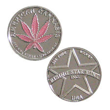 1/10th Troy Oz Pure .999 Fine Solid Silver American Pink Leaf Cannabis Coin