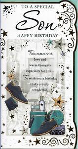 "SON HAPPY BIRTHDAY GREETING CARD NICE VERSE 9"" BY 4.5"" FREE P+P"