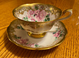 Royal Albert Portrait Series Teacup & Saucer Pink Roses Gold Lace BC England