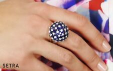 Designer Dom Style Right Hand Ring 18K Fine Gold Diamond & Sapphire