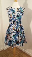 New Dorothy Perkins size 12 blue floral fit+flare skater dress cap sleeve summer