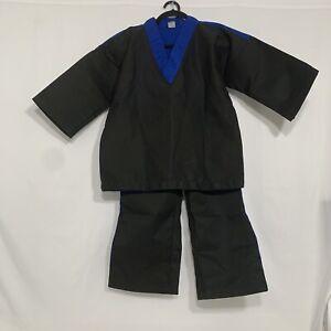 Karate Gi Martial Arts Uniform Karate/Taekwondo Black/Blue Top & Bottom Sz-1