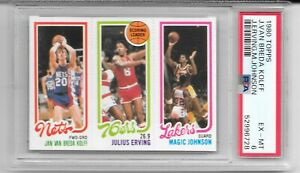 1980 Topps Magic Johnson Julius Erving PSA 6 RC CENTERED Los Angeles Lakers RARE