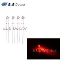 100pcs 1.8mm Water Clear Red Light LED Diodes Round Top High Quality