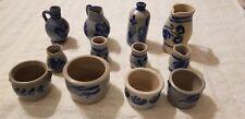 12 Vintage German Cobalt Blue Salt Glazed Pottery Stoneware Westerwald