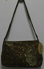 Cotton Handbag Tote Designer Purse Paisley Pattern Brown w/ Gold Accents Lamcy