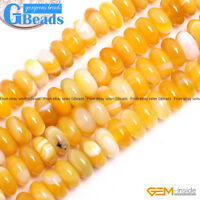 Natural Yellow Agate Gemstone Rondelle Spacer Beads For Jewelry Making DIY 15""
