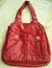 6e78915aee8 MARC BY MARC JACOBS Totally Turnlock Red Leather Shoulder Bag with Storage  Bag