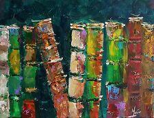 Original mendoza moderne contemporain livres vintage peinture art toile