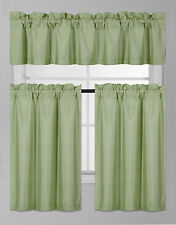 3PC SET WINDOW DRESSING KITCHEN CURTAIN SOLID LINED BLACKOUT DRAPE TREATMENT K3