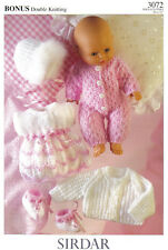Sirdar Dolls Dress, Bootees, All in One, Jacket & Hat Knitting Pattern - 3072 DK