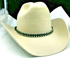 HATBAND Western BLACK with Silver Edge Lacing and Buckle Set Cowboy Hat Band