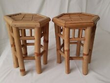 Pair of Vintage Small Hexagonal Bamboo Side Tables / Plant Stands
