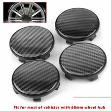 4pcs 68mm Carbon Fiber Texture Car Wheel Center Hub Caps ABS Cover No Logo Black