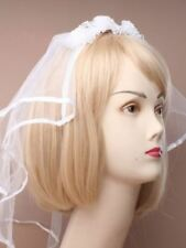 White Bridal Headdress With Net Veil and Flowers Hen Night Wedding Party