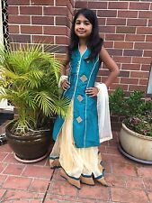 "32"" Age 7 - 9 Lehenga Choli Indian Bollywood Kids Dress Girl Skirt Top Turquoise"