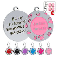 Oh Shit,I'm Lost Pet ID Tag Personalised Dog Cat ID Name Engrave with 2 Hair Bow