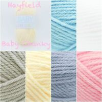 Hayfield Baby Chunky Soft Pastel Acrylic Knitting Crochet Yarn Wool 100g Balls