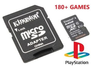 SD Card 64GB with 180+ Sony Playstation Classic Games , PSX/PS1 + Emulators