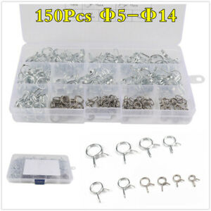 Stainless Steel Double Wire Fuel Line Hose Tube Spring Clip Clamp Assortment Kit