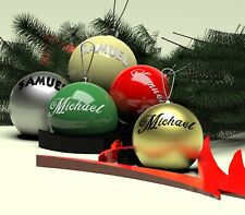 2 x CUSTOM/PERSONALISED  NAME VINYL DECAL STICKER CHRISTMAS BAUBLE DECORATION