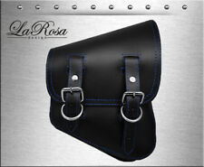 La Rosa Harley Softail Rigid Bobber Black Leather Blue Stitching Right Saddlebag