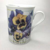 Marjolein Bastin Coffee Mug By Avon Pansies 1997 Fine Porcelain 8 Oz Tea Cup C26