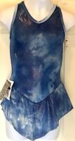 GK ICE FIGURE SKATE OCEAN SHIMMER CHILD LARGE TIE-DYE VELVET TRIM DRESS AS NWT!