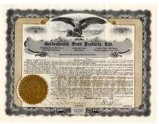 Stock Certificate Goldenhealth Fruit Products Ltd Nevada 1929 Issued #4
