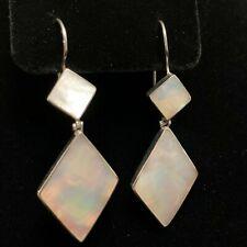 "Of Pearl Dangle Earrings 2.5"" Long Lovely Large Estate Sterling Silver & Mother"