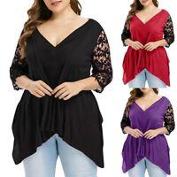 Women V-Neck Plus Size Half Sleeve Ruched Empire Waist Asymmetrical T-shirt Tops