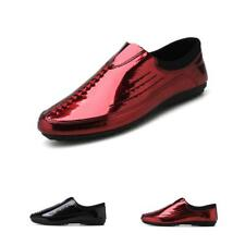 Men's Loafers Driving Shoes Fashion Shiny Leather Flats Casual Slip On Outdoor