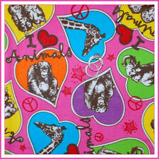 BonEful Fabric FQ Cotton Quilt Pink Circus ZOO Owl Peace L Elephant Monkey Heart