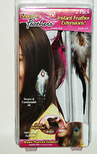 Snap On Feathers As Seen on TV Instant Feather Extensions SMOKY ASH FUCHSIA PINK