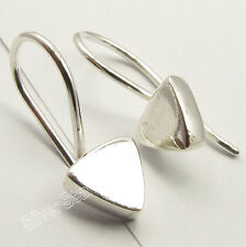 "925 Solid Silver HIGH POLISHED Triangular HOLLOW Earrings 0.6"" Just@ 0.99$"