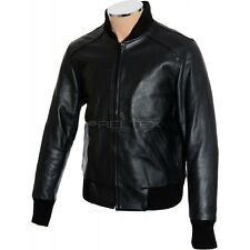NEW RTX Classic Bomber Ribbed Sleeve Waist & Neck Black Leather Jacket MED 40in
