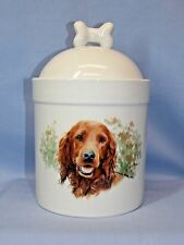 Irish Setter Dog Porcelain Treat Jar Fired Head Decal on Front 8 In Tall