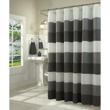 Dainty Home Ombre 70 in. Black Waffle Weave Fabric Shower Curtain