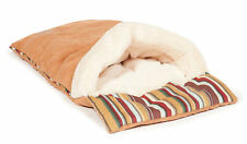 Morocco Beige Suede Feel Cat Sleeping Bag Soft Faux Fur Kitten Bed Danish Design