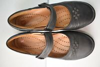 Clarks Unstructured Women's Black Leather Mary Jane Loafer Man Made Size 6 M