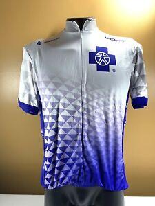 VOmax Capital Blue Cross Men's Cycling Shirt 1/2 Zip Size XXL